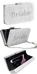 bridal clutch purse hard case evening bag bride crossbody chain box clutch
