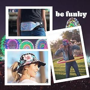 holographic fanny pack waist bag tie dye bucket hat ponytail sun hat festival urban streetwear