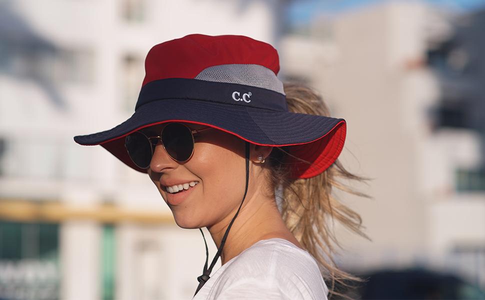ponytail sun hat cap bucket beach mesh foldable outdoor uv protection fishing camping safari boonie