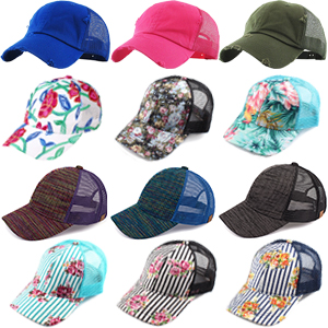 mesh trucker distressed solid floral tricolor pinstrip black camo hot pink royal blue olive