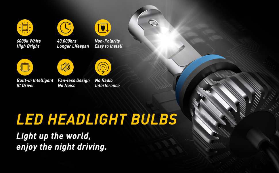 h11 led headlight bulbs kit