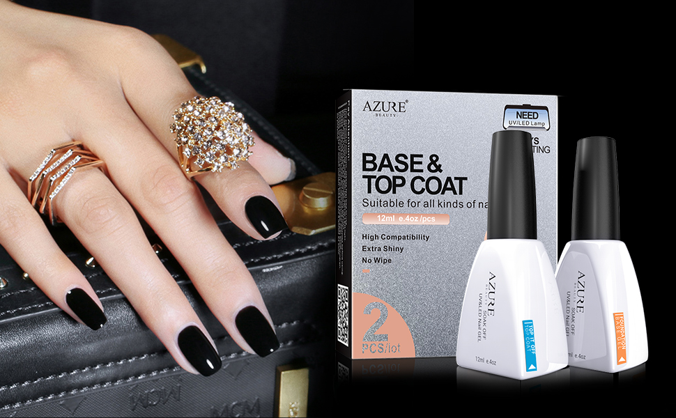 Amazon.com : Base Coat No Wipe Top Coat Set for UV LED Gel Nail ...