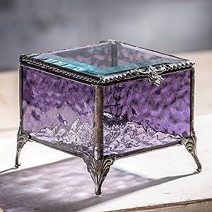 Purple Stained Glass Keepsake trinket decorative jewelry box