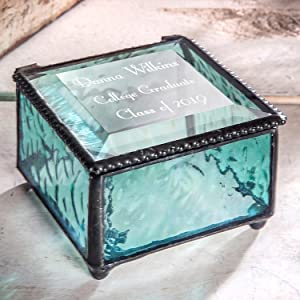 green blue stained glass keepsake trinket jewelry box personalized graduation gift for girl boy