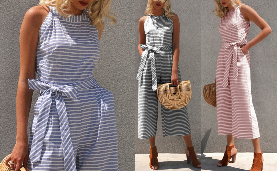 b14888a67a5 2019 Summer Fashion Women Halter Neck Casual Jumpsuit Striped Waist Belted  Ankle-Length Wide Leg Jumpsuit