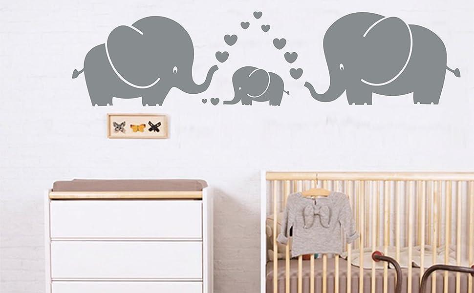 Amazon Luckkyy Cute Three Family Elephant Wall Decals For Kid