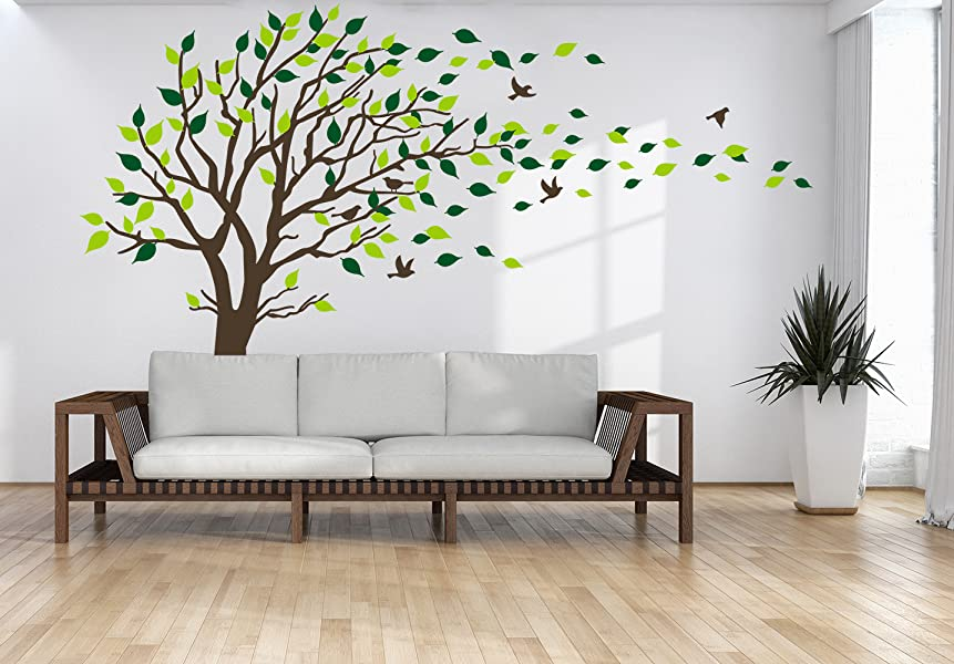 LUCKKYY Large Family Dark And Green Tree Blowing In The Wind Tree Wall  Decals