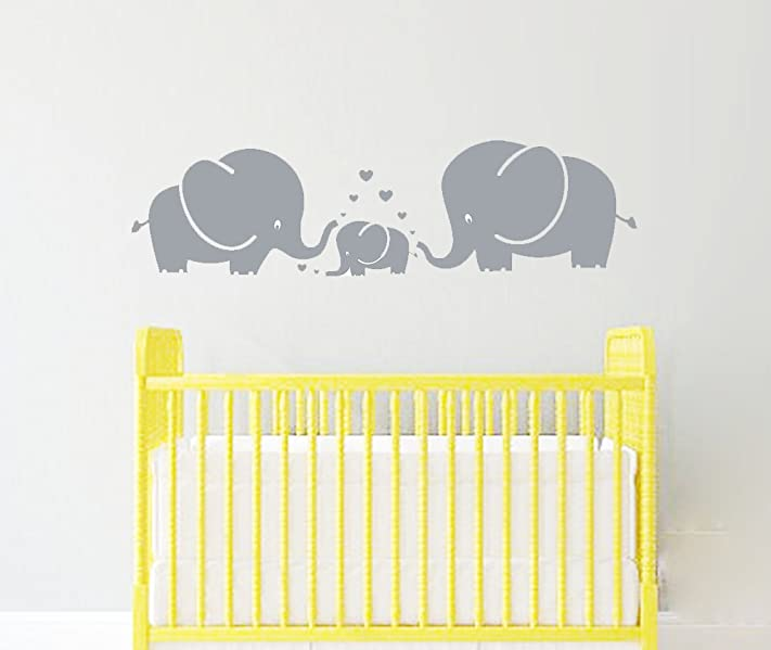 Amazon.com: LUCKKYY Cute Three family Elephant Wall Decals for kid ...