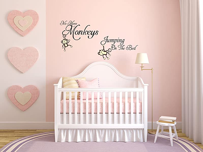 Amazoncom LUCKKYY No More Monkeys Jumping On The Bed Wall Decals - How do u put up a wall sticker