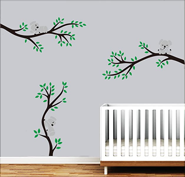 Koala Family On White Tree Branch Vinyls Wall Stickers Nursery Decals Art Remova