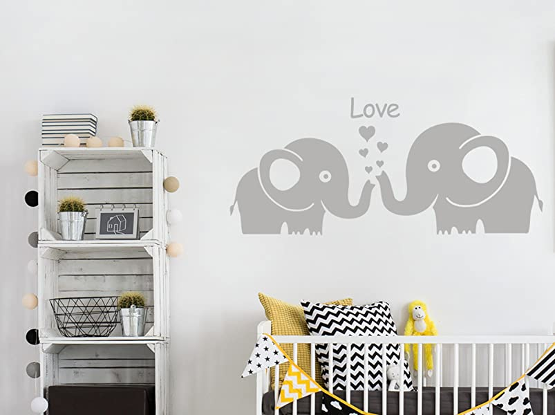 Amazoncom LUCKKYY Two Cute Elephants With Love Wall Decal Vinyl - How do you put up vinyl wall decals