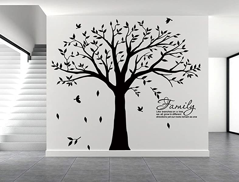 LUCKKYY Family Wall Decal Quote  Family Like Branches On A Tree  Vinyl  Lettering  Bedroom Decor  Family Tree Wall Decal  Inspirational Quote