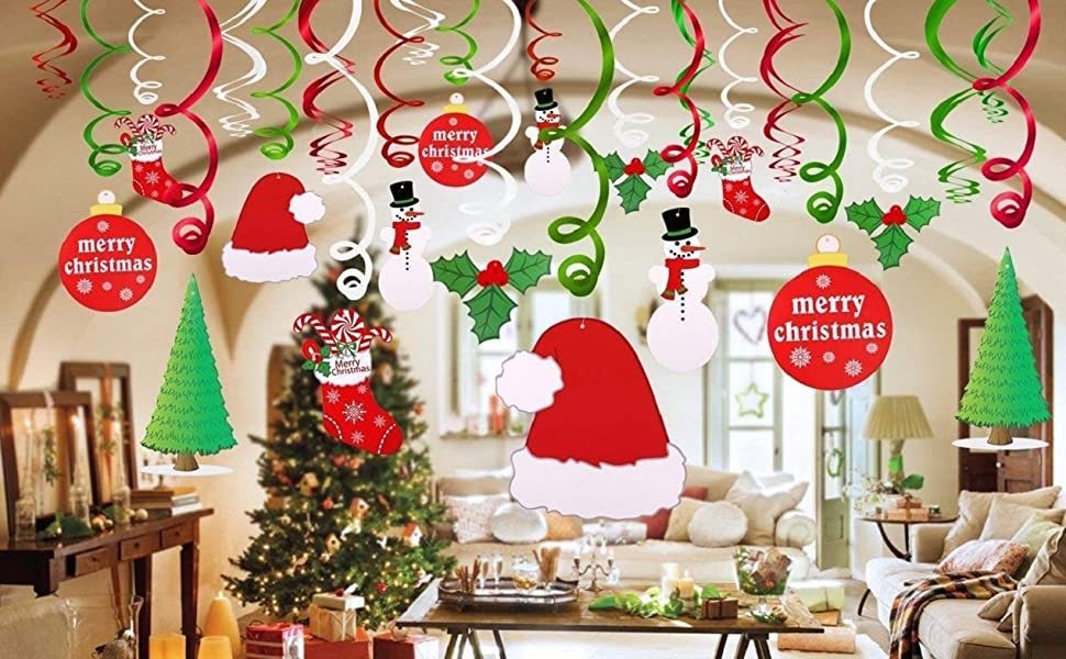 Hanging Christmas Decorations Ceiling.Luckkyy Christmas Hanging Swirl Pack Of 30 Sturdy Christmas Eve Swirls Christmas Eve Party Supplies Christmas Party Decoration F