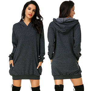84966a89459 Auxo Women s Long Sleeve Hooded Pockets Pullover Hoodie Dress Tunic ...