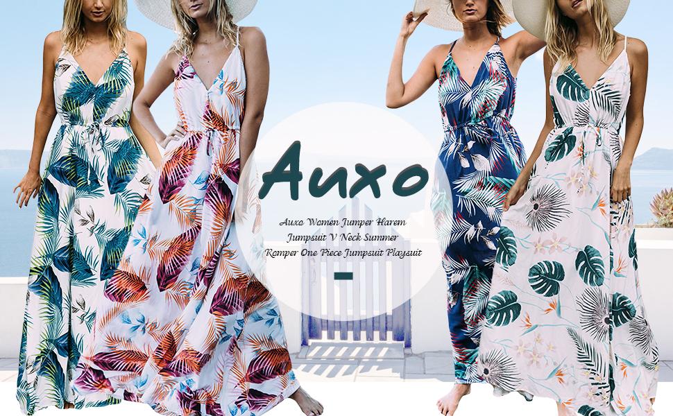e561415e3e806 Auxo Women Floral Maxi Dress Boho Sundress Printed V Neck Strappy Long  Summer Dresses