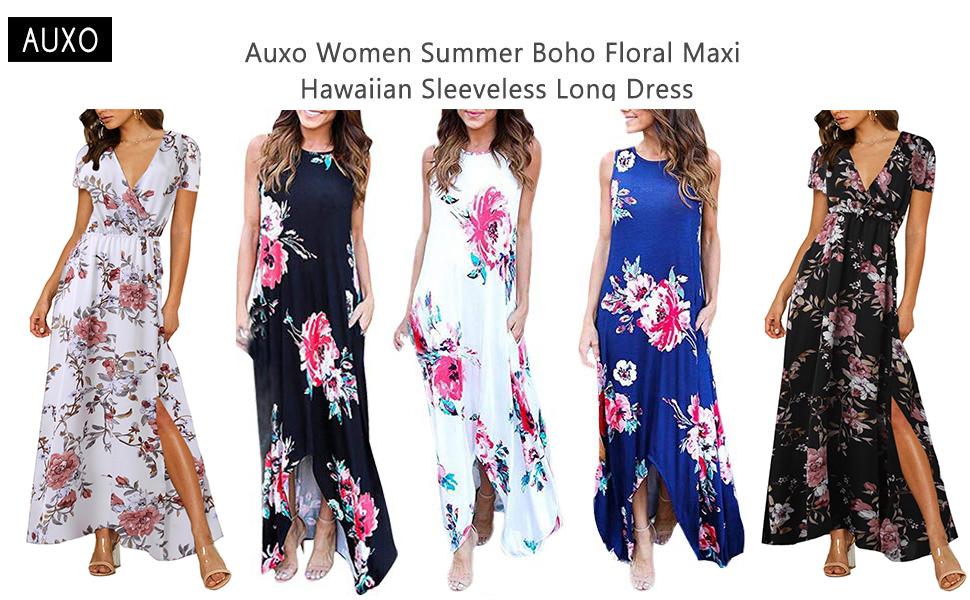 c0356e82b6564 Auxo Women Floral Maxi Dress Sleeveless Round Neck Long Pockets Sundress