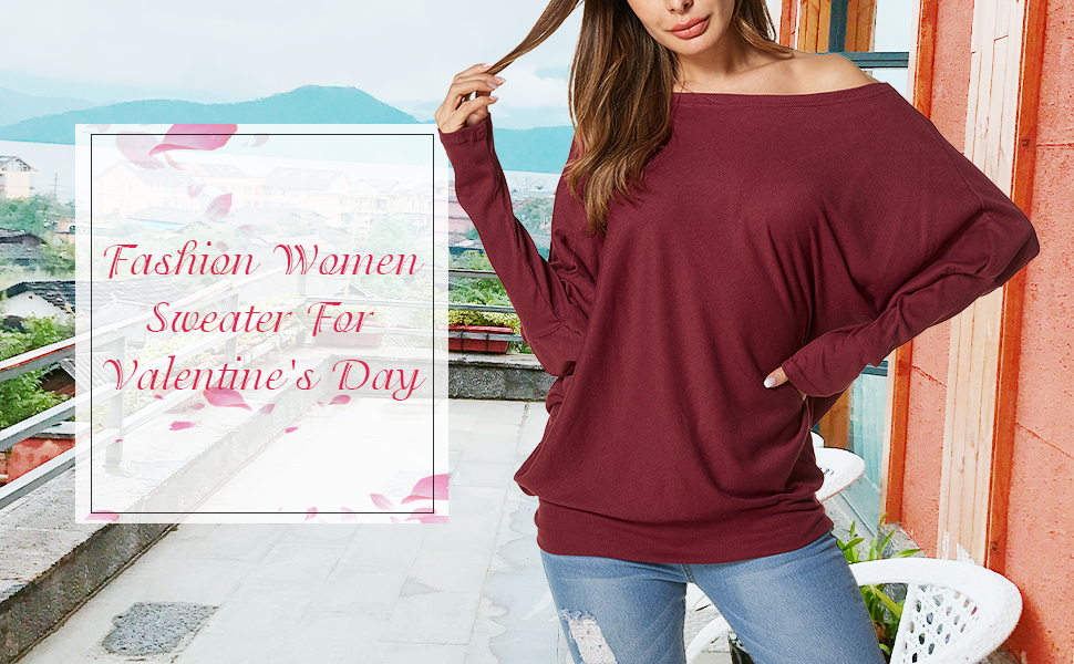 Auxo Womens Off The Shoulder Tops Baggy Shirt Long Sleeve Blouse ... df9afa42f