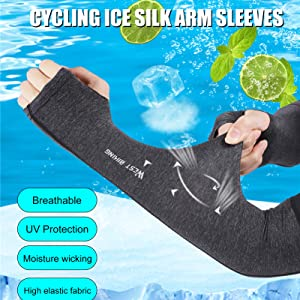 Compression Anti-slip Arm Sleeves with Thumb Holes Moisture Wicking UV Protection Cooling Silky Cover for Running Cycling