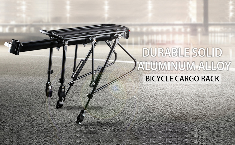 Durable solid aluminum alloy bicycle cargo rack