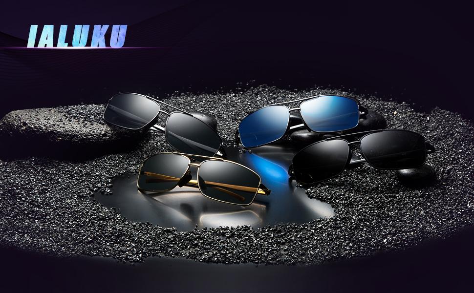6bcf6d3ef4 Amazon.com  IALUKU Rectangular Polarized Sunglasses for Men Square ...