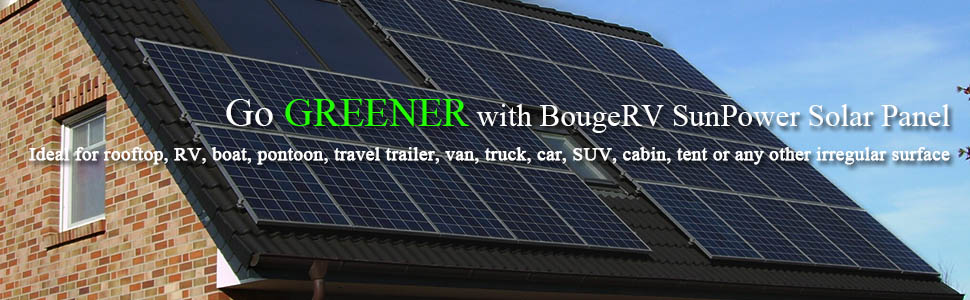 BougeRV Solar Panel 100W 18V 12V  Charger ETFE SunPower Cell Solar Power Flexible Ultra Thin with MC4 Connector Charging for RV Travel Trailer Van Truck Car SUV Pontoon Boat Cabin Tent