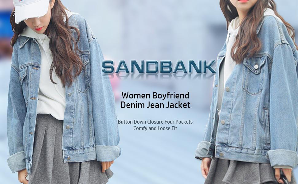 7658d3df3163f sandbank Women s Loose Fit Long Sleeve Button Boyfriend Denim Jacket ...