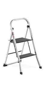 Delxo Lightweight Aluminum Woodgrain 3 Step Ladder Folding