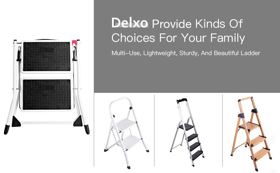 Amazon.com: Delxo escalera con taburete liviana blanca ...