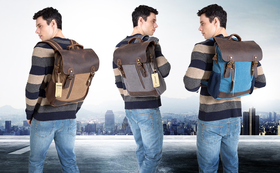*This leather canvas backpack is a perfect laptop bag you dont want to miss. Made of heavy duty canvas & crazy horse leather trim, The vintage canvas ...