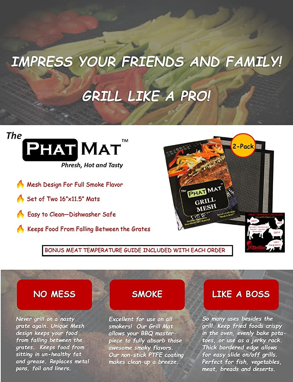 Amazon.com: Phat Mat Non Stick Grill Mesh Mats (2 Pk