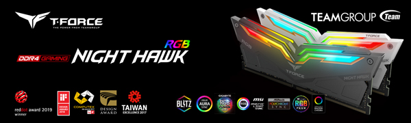 TEAMGROUP T-Force Night Hawk RGB DDR4 16GB Kit SDRAM 2x8GB 4000MHz PC4-32000 CL18 Desktop Memory ram