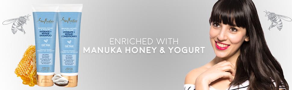 Shea Moisture Manuka Honey & Yogurt Hydrate + Repair Shampoo & Conditioner Set.