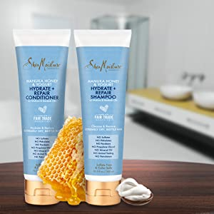 Shea Moisture Manuka Honey & Yogurt Hydrate + Repair Shampoo & Conditioner Set