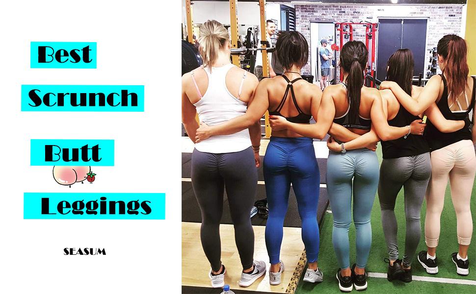 748754252e430a SEASUM Women Scrunch Butt Yoga Pants Leggings High Waist Waistband ...