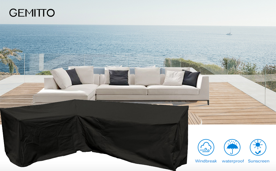 Amazon.com : GEMITTO Patio Sofa Cover, Outdoor Sectional Furniture ...