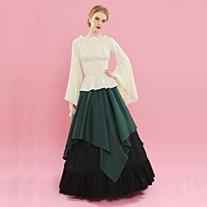 ROLECOS Womens Renaissance Medieval Costume Trumpet Sleeve Peasant Shirt and Skirt