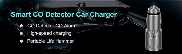 304 Stainless Steel 2-Port Smart CO Alarm USB Car Charger, 3PPM Light & Sound Alarm,Life Hammer