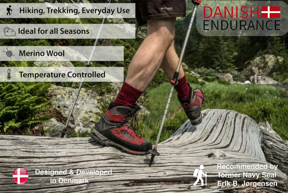 MERINO WOOL HIKING & TREKKING SOCKS by DANISH ENDURANCE