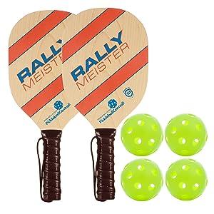 Rally Meister Pickleball Paddle Deluxe Bundle - 4 Wood Paddles & Balls Pickleball Set