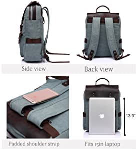 38bedcc96718 Amazon.com  Vaschy Vintage Leather Backpack for Women and Men Canvas ...
