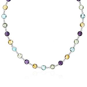 Gem Stone King 925 Sterling Silver 8MM Round Amethyst Blue-Topaz & Citrine  43 00 Carat Necklace 18 Inch