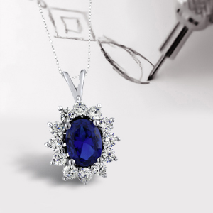 "6.61 Ct Oval Blue Simulated Sapphire 925 Sterling Silver Pendant with 18/"" Chain"