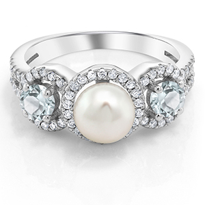 Gem Stone King 925 Sterling Silver Cultured Freshwater Pearl & Sky  Aquamarine Women's Ring 1 24 Ctw (Available 5,6,7,8,9)