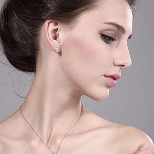 Charles & Colvard Forever Classic 0 66 Cttw DEW Moissanite Women's Stud  Earrings 14K White Gold