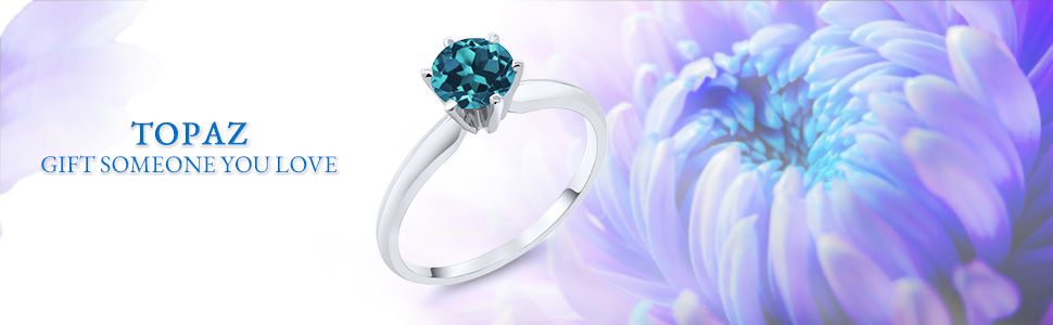 0.75 Ct Round Swiss Blue Topaz 10K White Gold 5 Stone Wedding Anniversary Ring