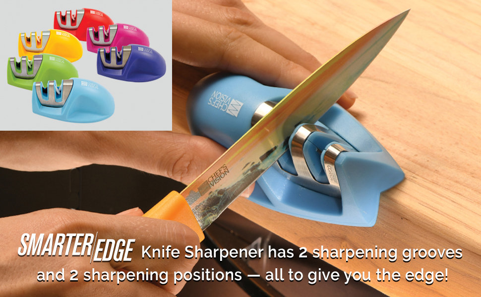 Smarter Edge Kitchen Knife Sharpener by Chefs Vision - Blue V-Shape 2 Stage Sharpener - Knife Honer Tool - Color Portable Knife Sharpener - Manual ...
