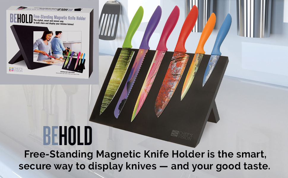 magnetic knife stand, magnetic knife block, universal knife holder, black magnetic knife holder