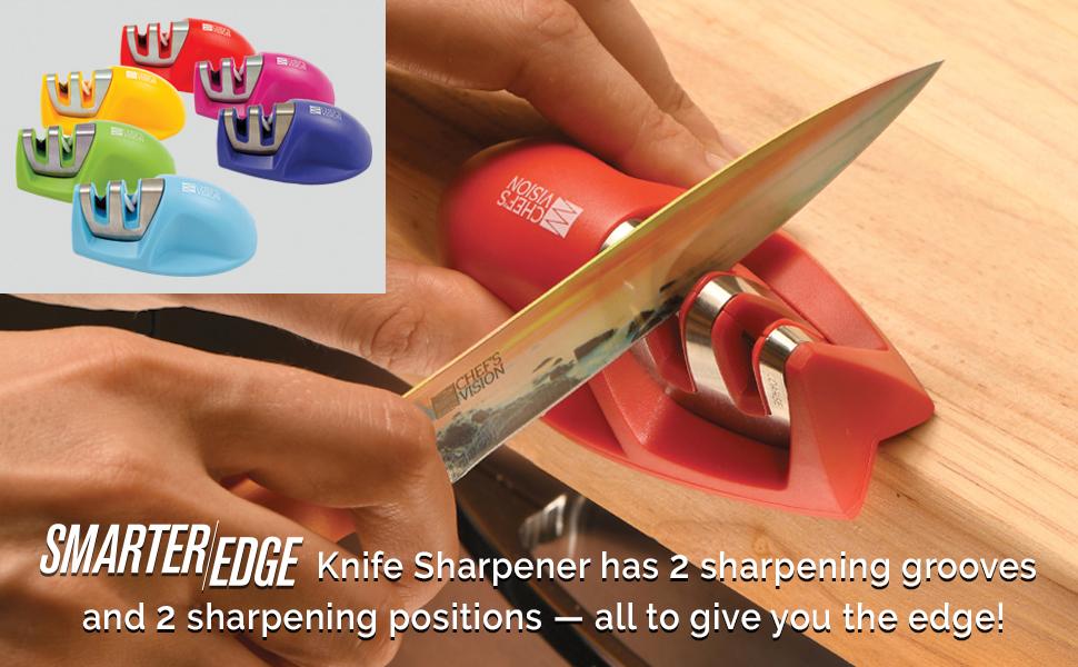Smarter Edge Kitchen Knife Sharpener by Chefs Vision - Red V-Shape 2 Stage Sharpener - Knife Honing Tool - Colorful Mini Knife Sharpener - Best Knife ...