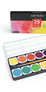 Watercolor Paint Set, 25 Vibrant Color Cakes