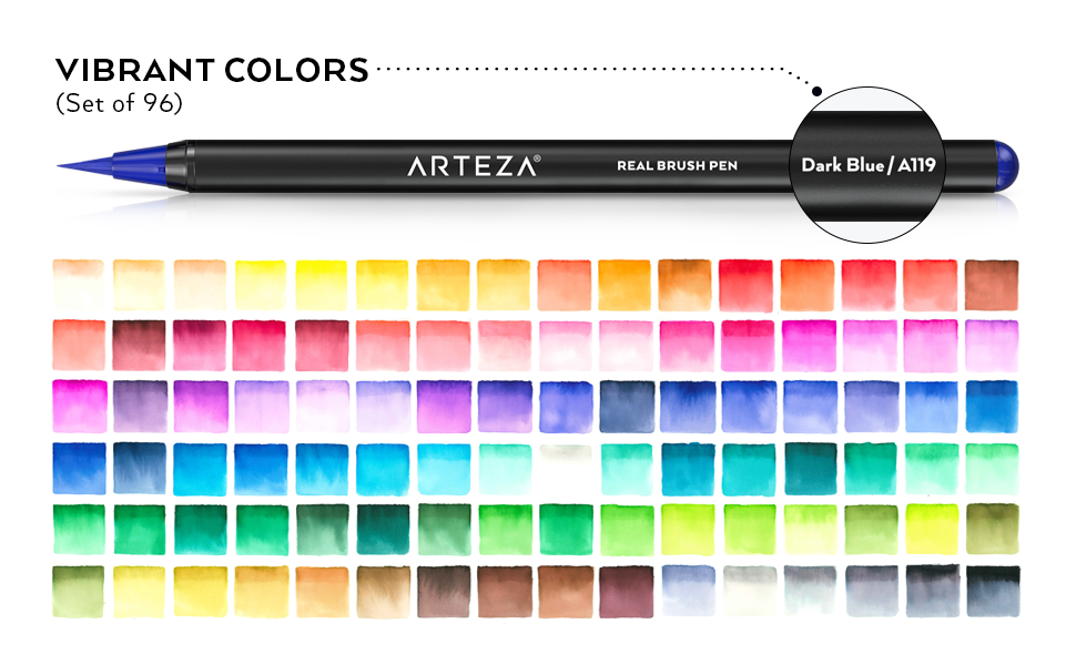 Amazon.com: Arteza Real Brush Pens, 96 Paint Markers with